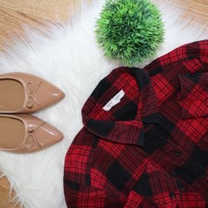 BeachLunchLounge Red Plaid Button Up Blouse XS EUC